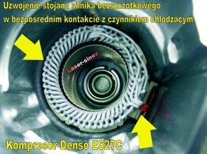Uzwojenie kompresora elektrycznego denso es27c do autoklimatyzacji hybrydy